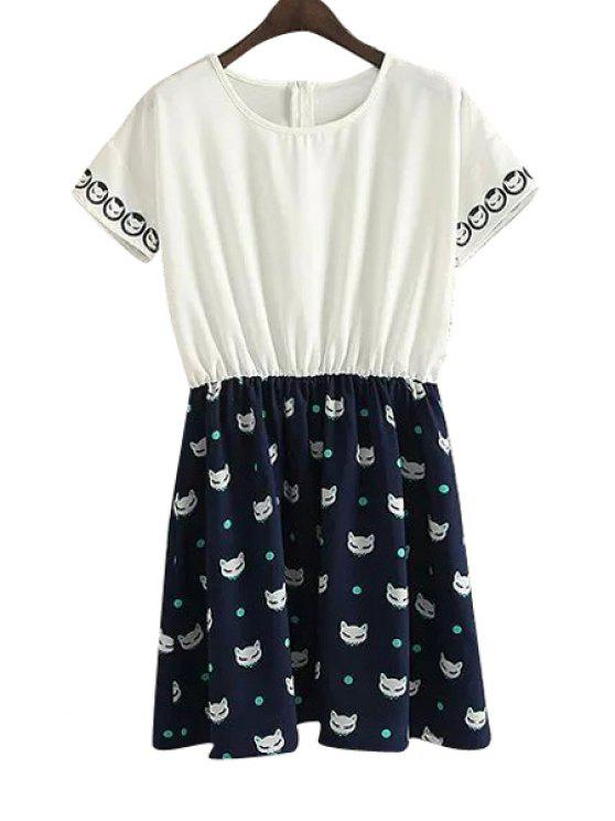 outfit Cat Print Color Block Short Sleeve Dress - WHITE AND BLACK S