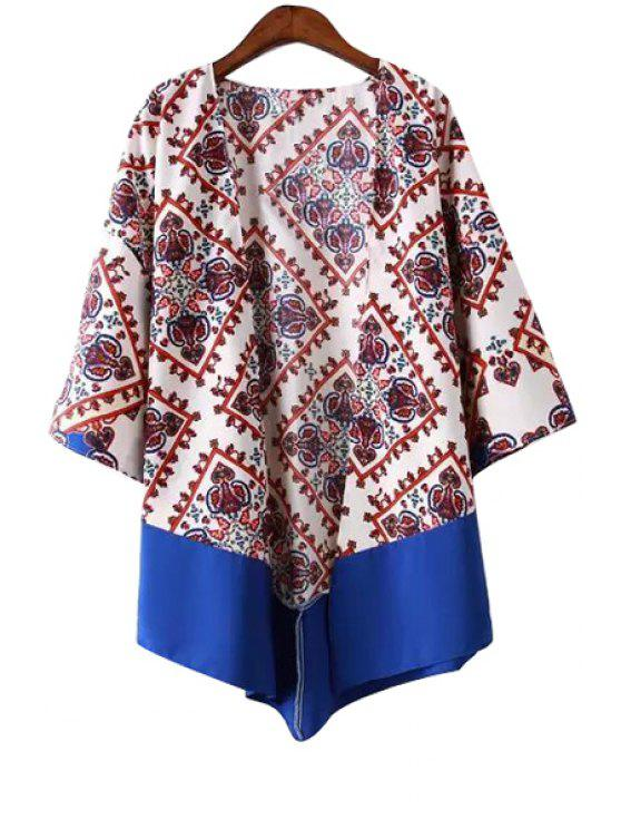 best Geometric Print Splicing 3/4 Sleeve Blouse - DEEP RED S