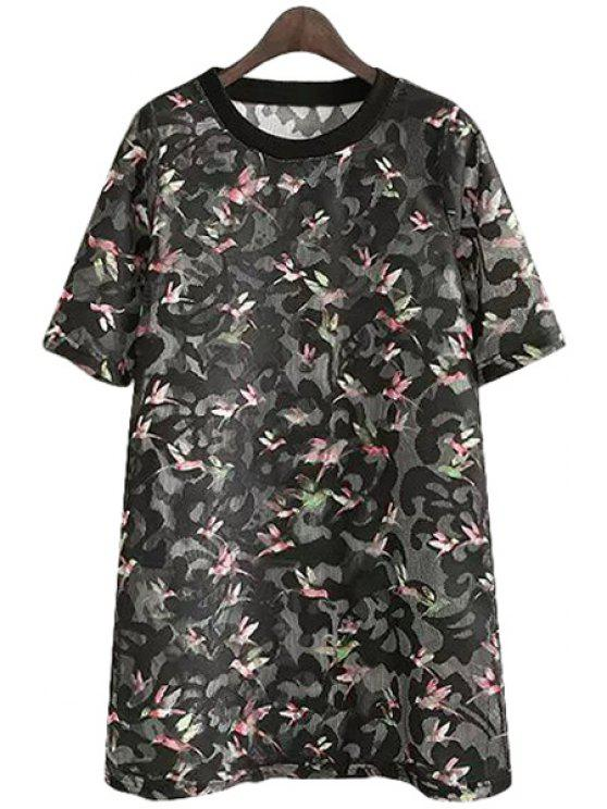 chic Full Bird Print Short Sleeve Dress - BLACK ONE SIZE(FIT SIZE XS TO M)