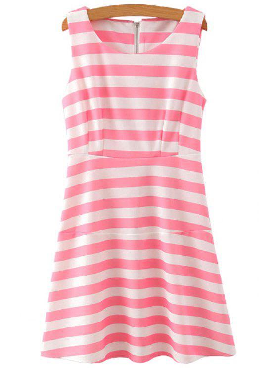 women Stripes A-Line Sundress - PINK S