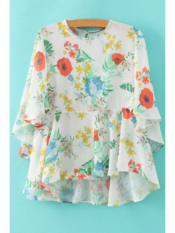 women Floral Butterfly Sleeve Chiffon Blouse - WHITE S