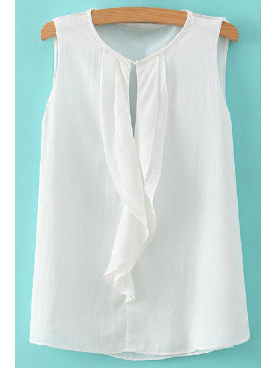 lady Solid Color Chiffon Sleeveless Shirt - WHITE S
