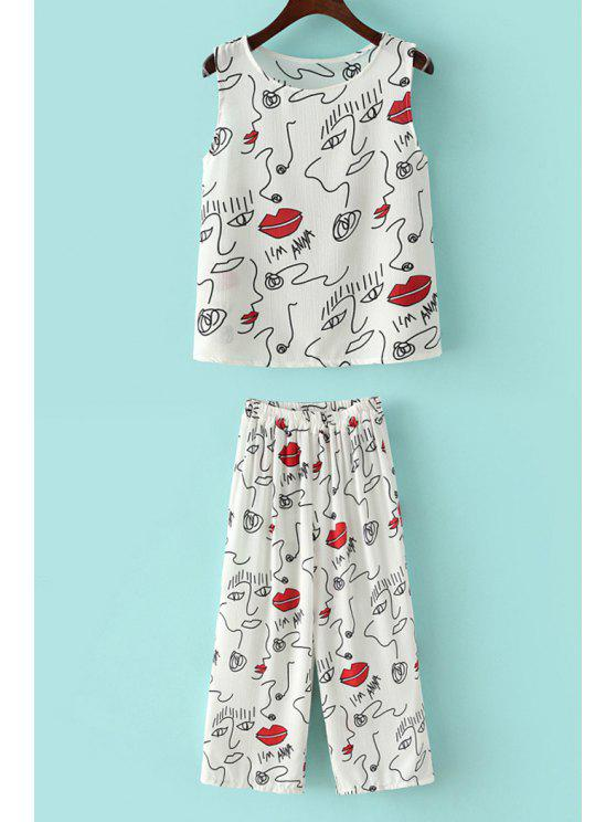 online Lip Scrawl Print Tank Top + Pants - WHITE ONE SIZE(FIT SIZE XS TO M)