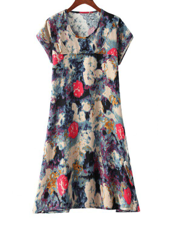 chic Short Sleeve Color Block Print Dress - RED M