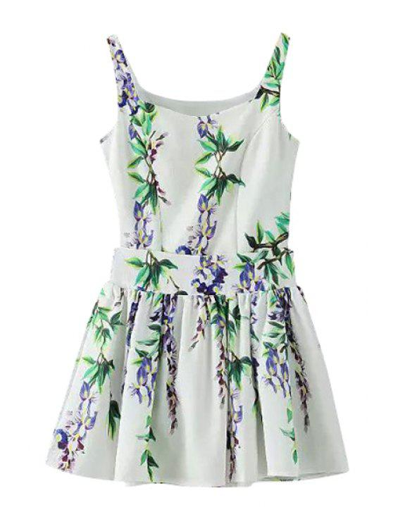 unique Floral Print Sleeveless Tank Top + Ruffle Skirt - GREEN S