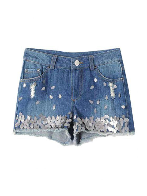 bc7d7bcee9 58% OFF] 2019 Sequins Embellished Denim Shorts In LIGHT BLUE | ZAFUL