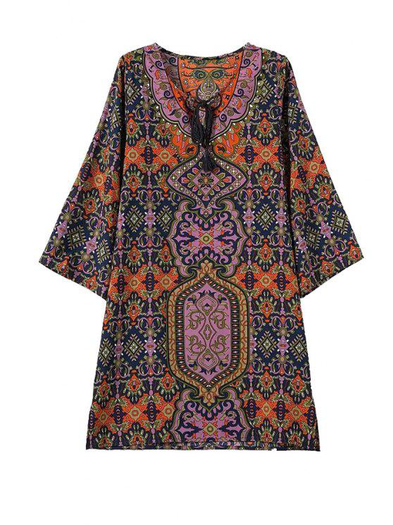 women Color Block Print V-Neck Tie-Up Dress - COLORMIX S
