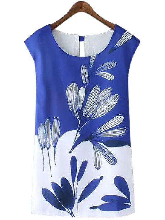 new Scoop Neck Color Block Floral Print Dress - BLUE S