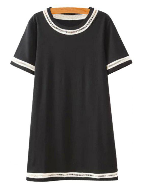 fashion Lace Splicing Openwork Short Sleeve Dress - BLACK S