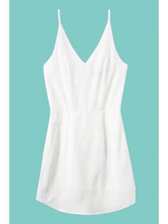 unique Solid Color Spaghetti Strap Dress - WHITE S