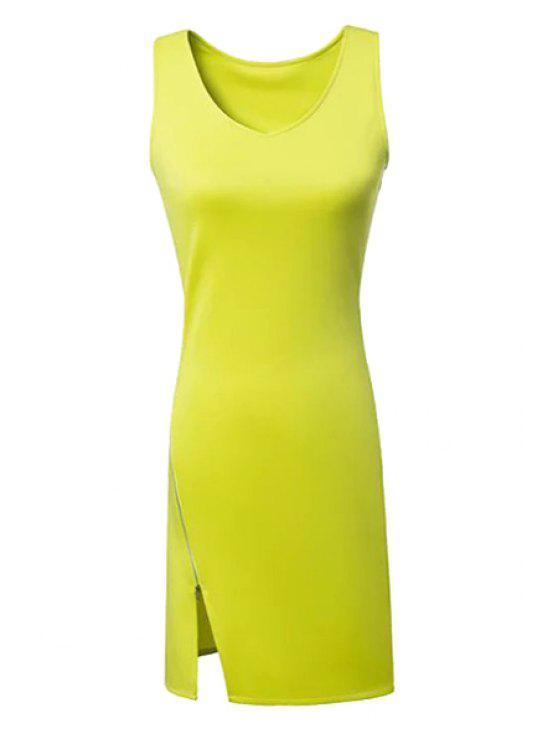 womens Solid Color Side Zipper Slit Dress - BLUISH YELLOW S