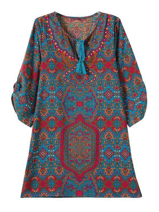 fashion V-Neck Tie-Up Print 3/4 Sleeve Dress - CADETBLUE S