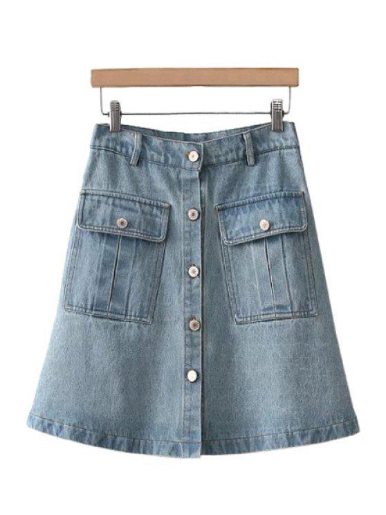 online Solid Color Pocket A-Line Skirt - LIGHT BLUE M