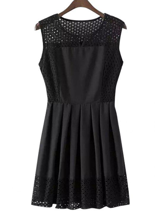 shop Openwork Solid Color Sleeveless Pleated Dress - BLACK S