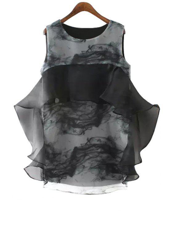 fancy Flounce Splicing Print Sleeveless Dress - BLACK S