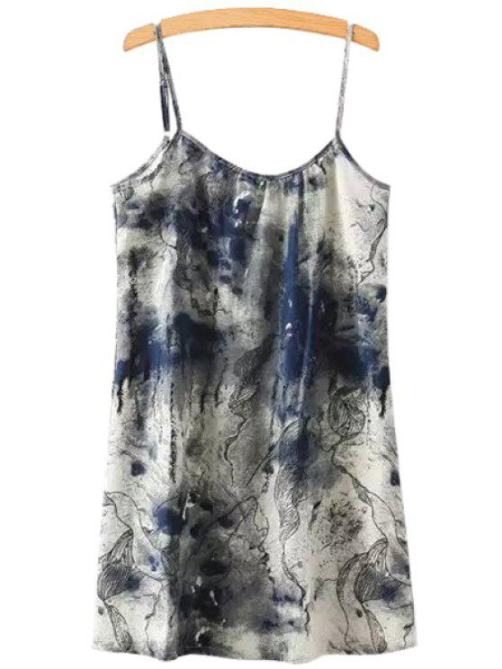 online Ink Print Straight Spaghetti Straps Dress - COLORMIX ONE SIZE(FIT SIZE XS TO M)
