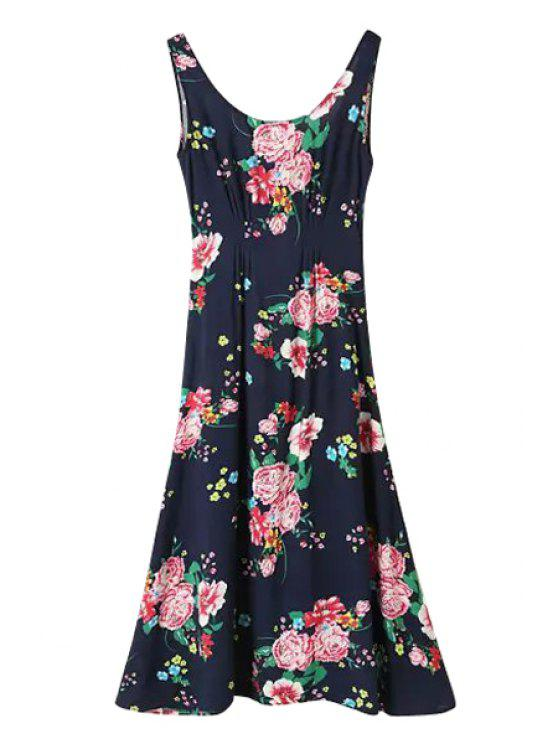 shops Scoop Neck Floral Print Sleeveless Maxi Dress - RED WITH BLACK S