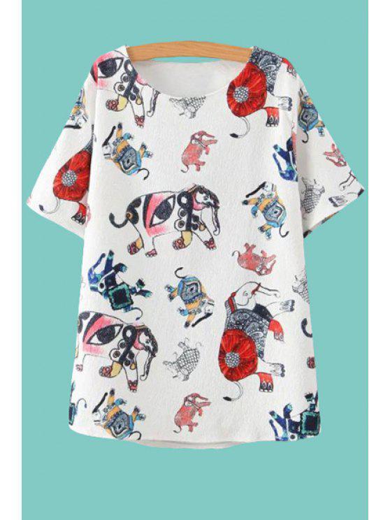 latest Elephant Print Short Sleeves T-Shirt - WHITE M