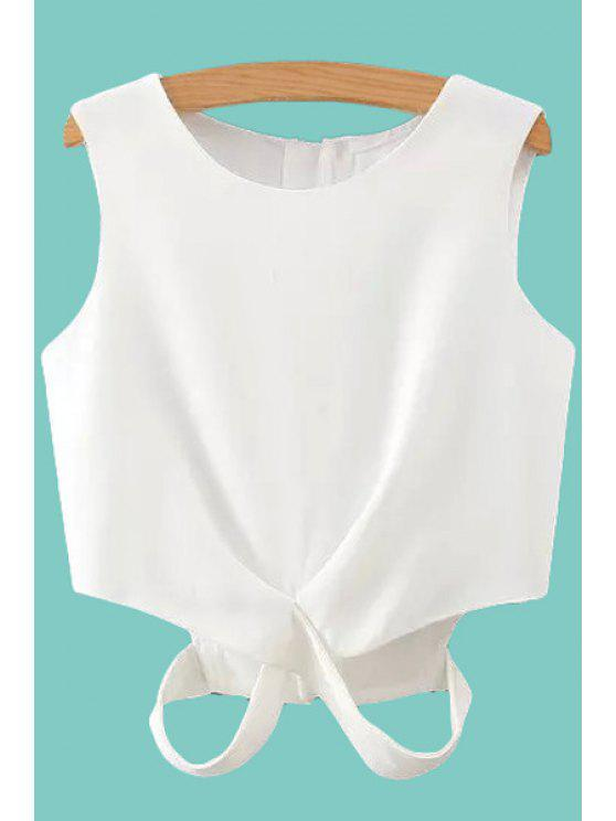 outfits Solid Color Cut Out Tank Top - WHITE L