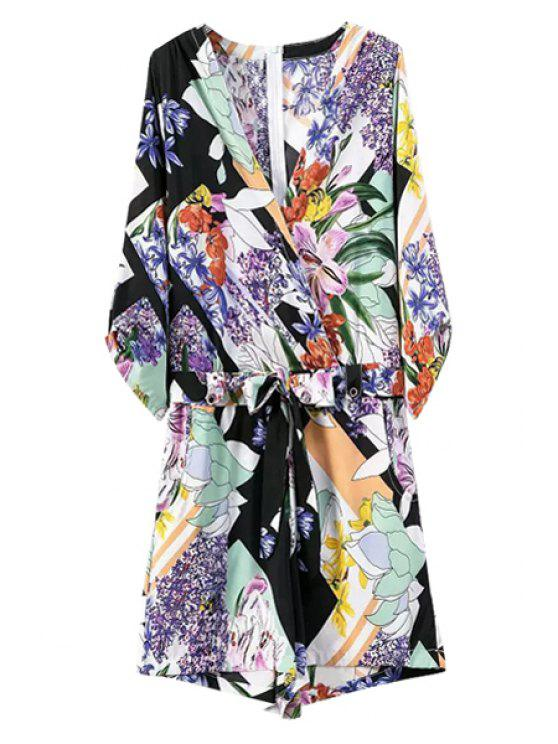 latest Colorful Floral Print 3/4 Sleeve Romper - COLORMIX S