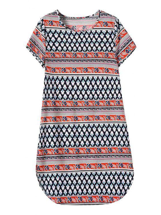 womens Jewel Neck Tiny Floral Print Dress - COLORMIX S