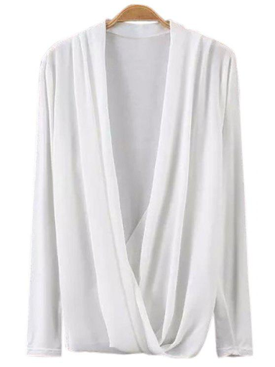 women Solid Color Chiffon Long Sleeves Blouse - WHITE S