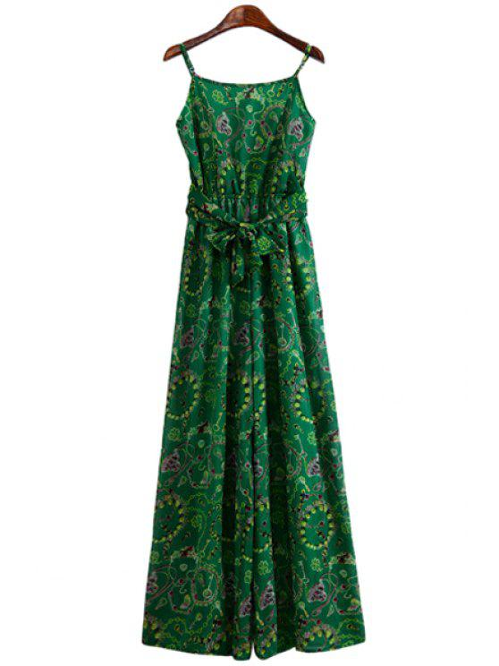 fancy Print Spaghetti Straps Wide Leg Jumpsuit - GREEN S