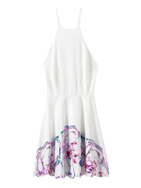 chic Spaghetti Strap Backless Print Tie-Up Dress - WHITE S