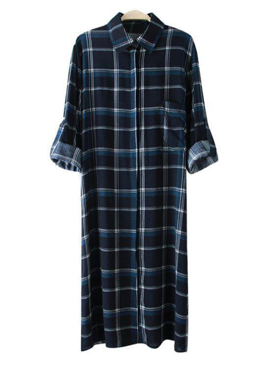 shops Plaid Side Slit Long Sleeve Shirt - PURPLISH BLUE S