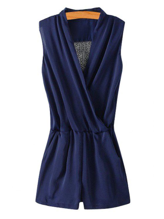 chic Back Lace Splicing Openwork Sleeveless Romper - PURPLISH BLUE S