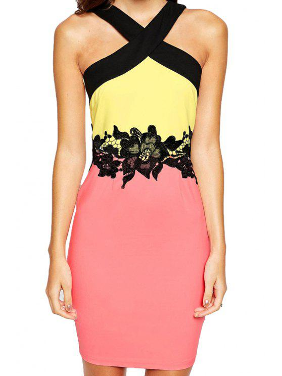 outfit Pink Yellow Sleeveless Color Block Dress - COLORMIX M