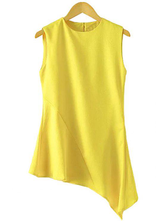 latest Yellow Irregular Hem Sleeveless Shirt - YELLOW S