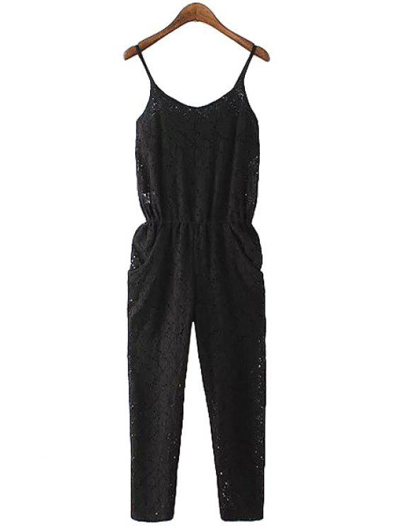 affordable Black Lace Spaghetti Straps Jumpsuit - BLACK S