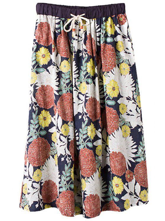 shop Colorful Floral Print Tie-Up Skirt - COLORMIX ONE SIZE(FIT SIZE XS TO M)