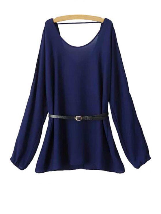 affordable Solid Color Long Sleeves Chiffon Blouse - PURPLISH BLUE S