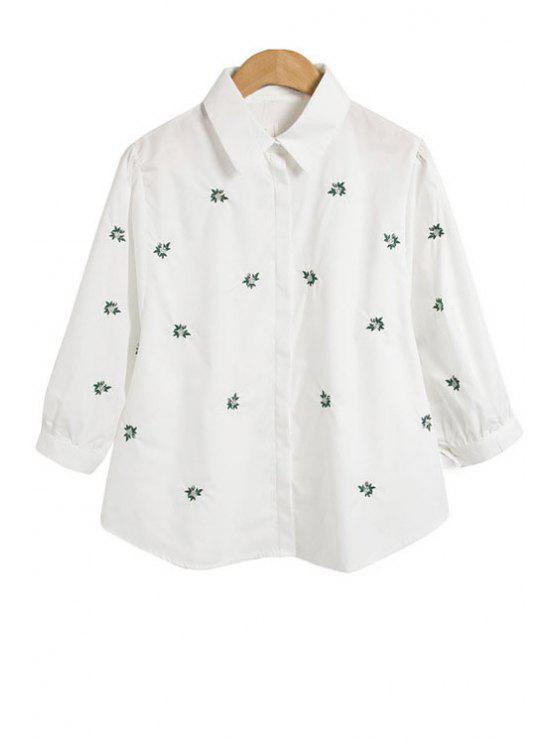 buy Floral Embroidery 3/4 Sleeve Shirt - WHITE S