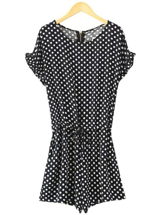 women's Polka Dot Short Sleeve Romper - WHITE AND BLACK L