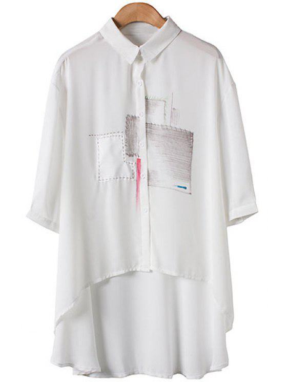 ladies Patch Pattern Asymmetrical 3/4 Sleeve Shirt - WHITE S