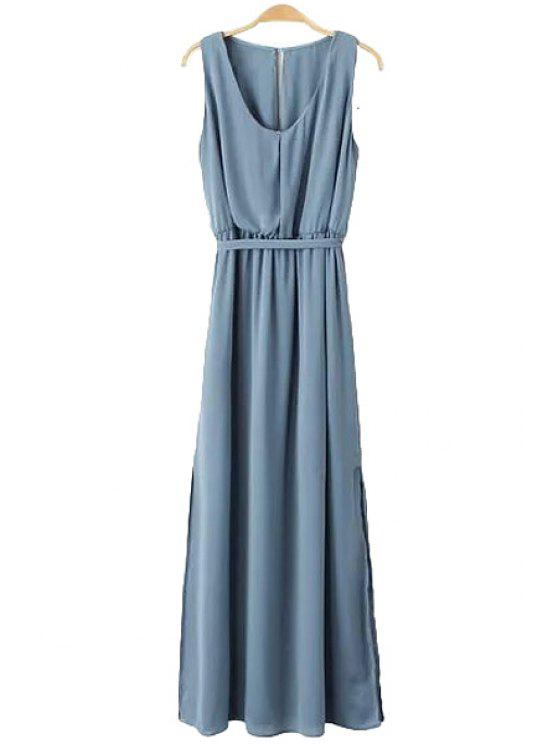 best Side Slit Solid Color Maxi Sundress - BLUE L
