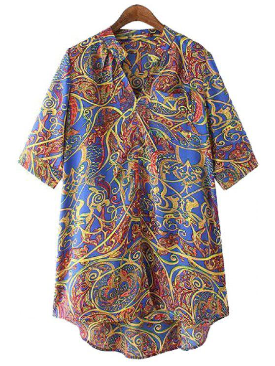 women Print V-Neck Half Sleeve Blouse - BLUE M