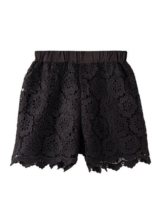 buy Floral Pattern Openwork Elasitic Waist Shorts - BLACK ONE SIZE(FIT SIZE XS TO M)
