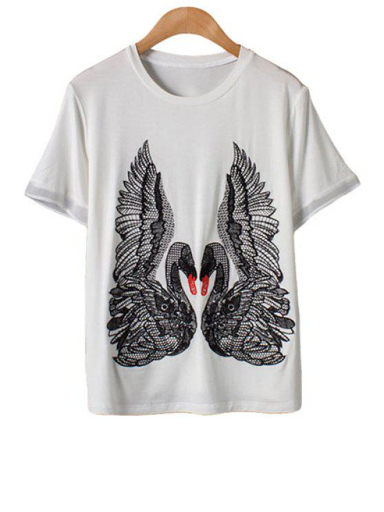 women Swan Embroidery Short Sleeve T-Shirt - WHITE M