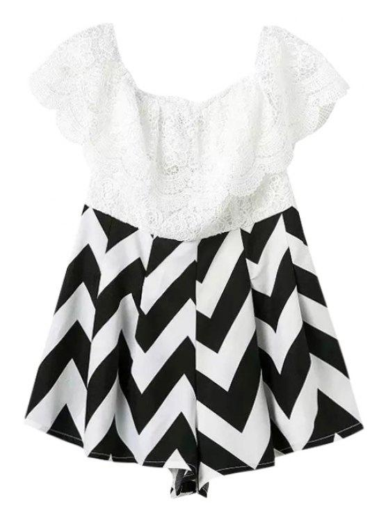 ladies Lace Stripe Spliced Romper - WHITE AND BLACK S
