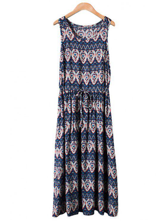 trendy Print Tie-Up Sleeveless Maxi Dress - PURPLISH BLUE M