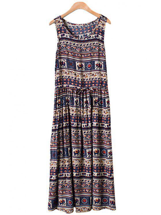 chic Elephant Print Tie-Up Sleeveless Maxi Dress - PURPLISH BLUE M