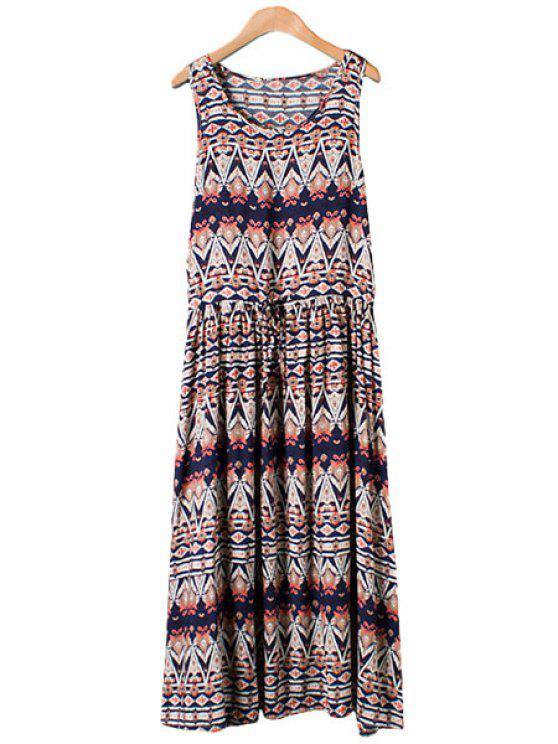 unique Colorful Argyle Print Tie-Up Maxi Dress - PURPLISH BLUE M