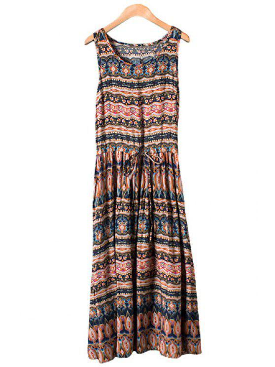 women Tie-Up Print Sleeveless Maxi Dress - COLORMIX M