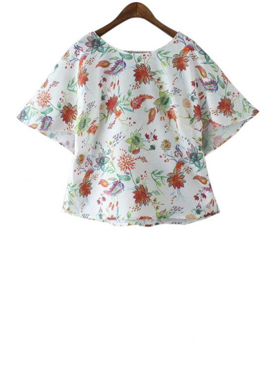 new Floral Chiffon Short Sleeve Blouse - JACINTH S