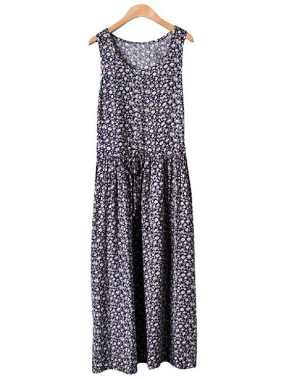 lady Tie-Up Tiny Floral Print Sleeveless Maxi Dress - PURPLISH BLUE M