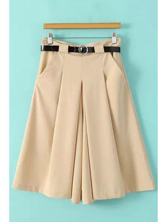 chic Solid Color Wide Leg Fifth Pants - KHAKI S